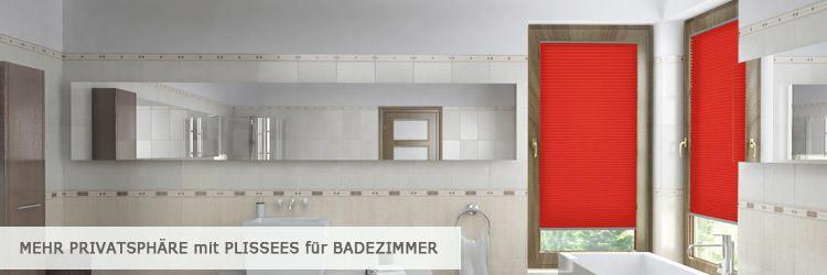 Badezimmer Plissee am Fenster - montiert im Fensterfalz - www.plissee-experte.de